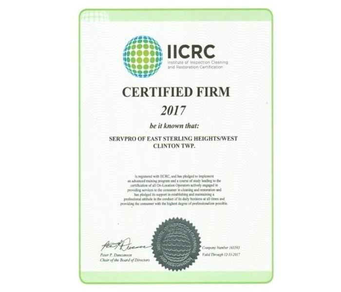 Iicrc Certified Firm Servpro Of East Sterling Heights West